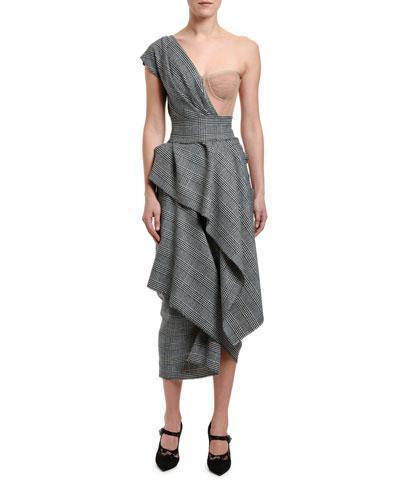 One-Shoulder Tartan Bustier Dress