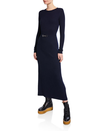 Luisa Belted Long-Sleeve Wool Dress