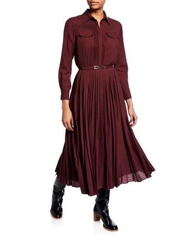 Erella Cashmere-Gauze Pleated Shirtdress