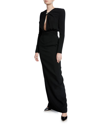 Crepe Keyhole-Front Long-Sleeve Gown
