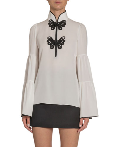 Butterfly Lace-Embroidered Silk Blouse