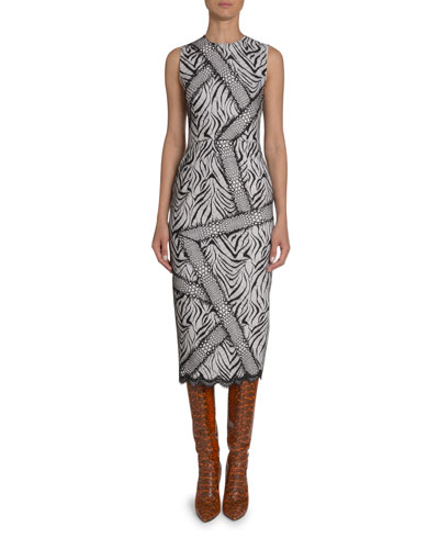 Abstract Zebra-Print Sheath Dress