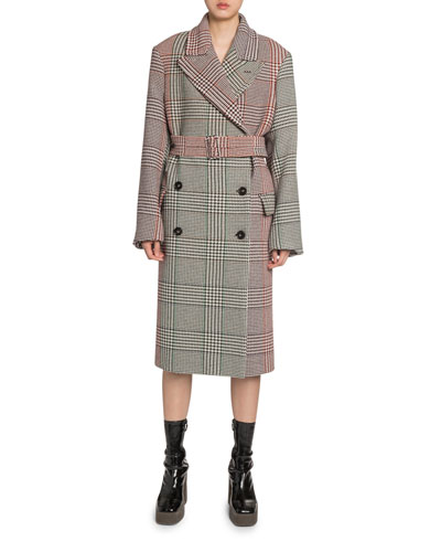 Two-Tone Checked Trench Coat
