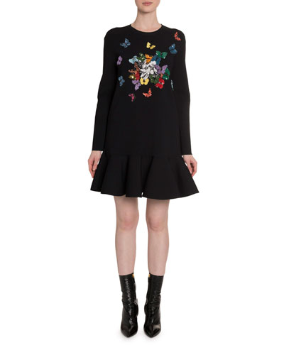 Butterfly-Embroidered Knit Dress