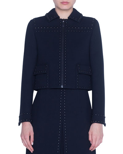 Studded Diagonal-Tricotine Shirt Jacket