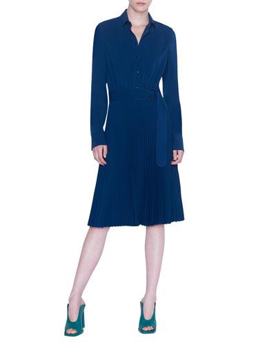 Kent-Collar Pleated Shirtdress