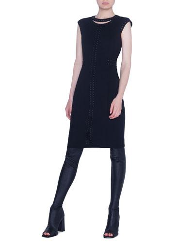 Dome-Studded Jersey Shift Dress