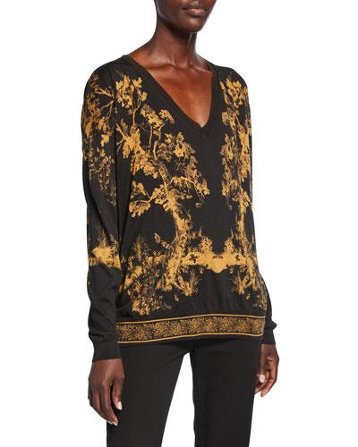 Forest Print V-Neck Sweater