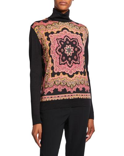 Radial Print Blocked Turtleneck Sweater