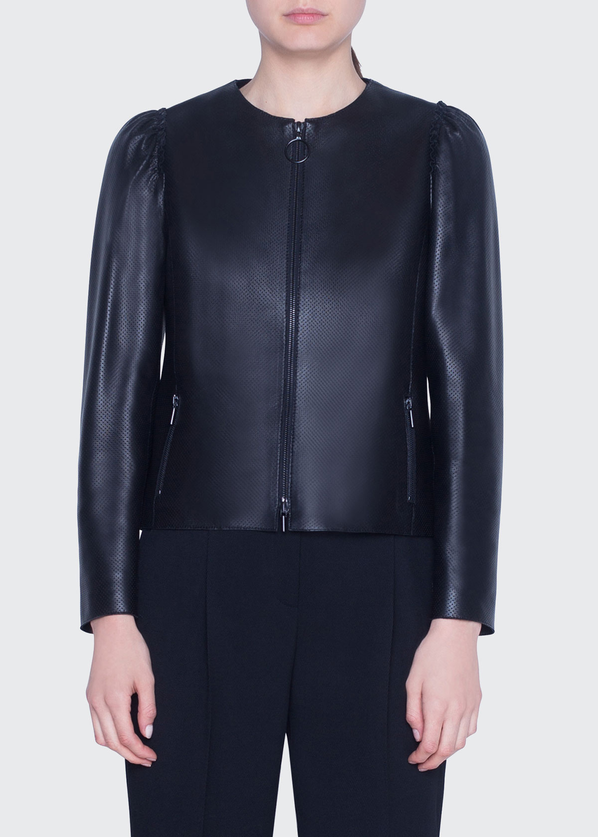 Akris Punto Jackets PERFORATED LEATHER ZIP-FRONT JACKET
