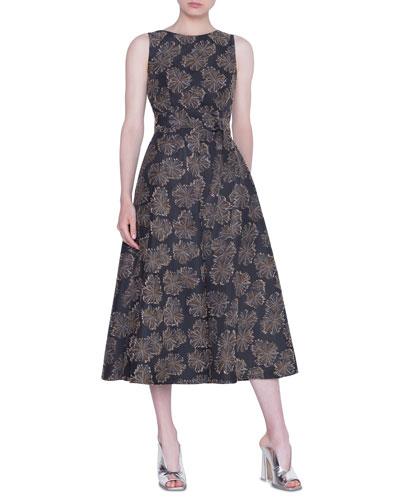 Desert-Flower Jacquard Midi Dress