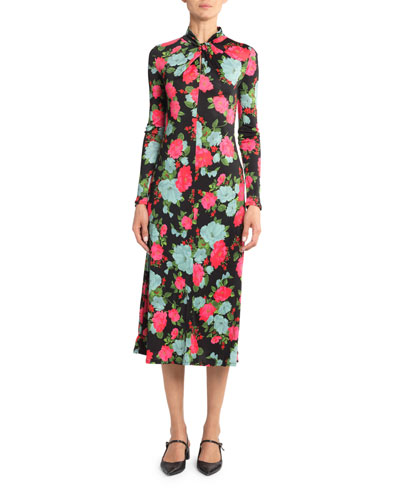 Floral Jersey Seamed Dress