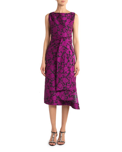 Floral Jacquard Sleeveless Dress