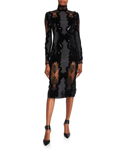 Diletta Turtleneck Lace Bowed Cocktail Dress