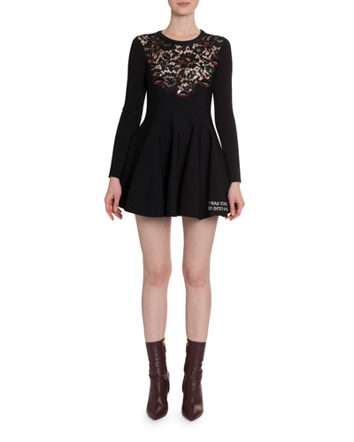 Long-Sleeve Lace-Inset Jersey Dress