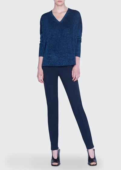 Metallic Knit Wool Sweater