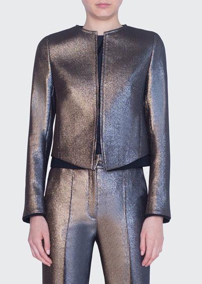 Iridescent Golden Zip-Front Jacket