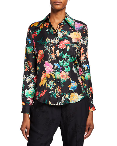 Spaced Floral Print Silk Button-Front Blouse
