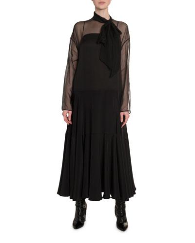 Chiffon Scarf-Neck Dress