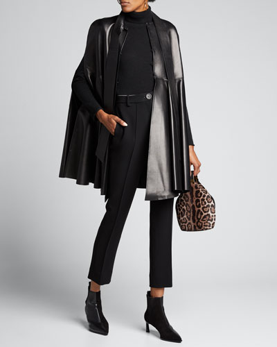Leather Cape Trench Coat
