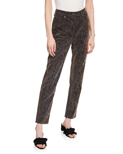 Paisley Print Skinny Jeans