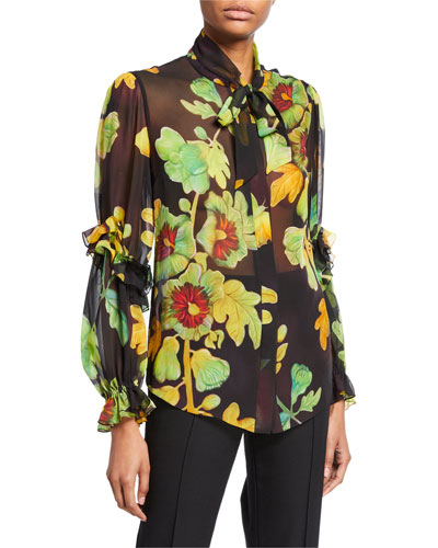 Floral-Print Silk Georgette Tie-Neck Blouse
