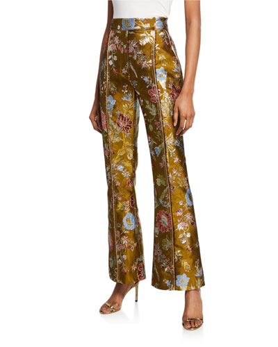 Metallic Jacquard High-Rise Flare Pants