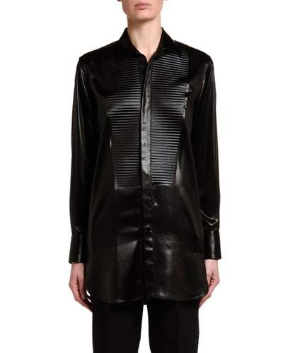 Lacquered Satin Blouse