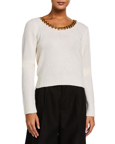 Chain-Neck Brushed Wool Sweater