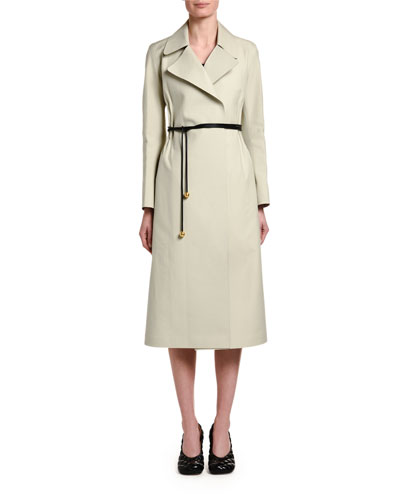Cotton Cinched-Waist Trench Coat