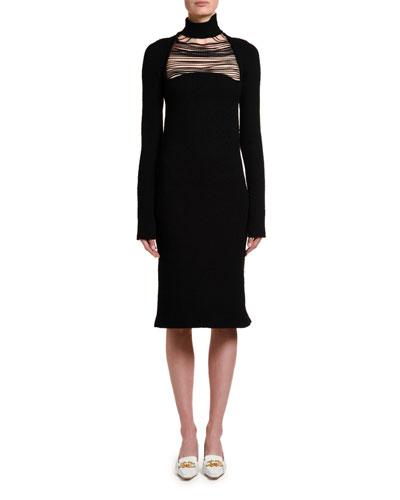 Silk Sable Chain-Yoke Turtleneck Dress