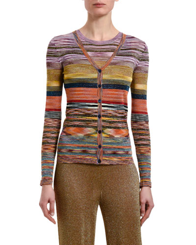 Multicolor-Striped Button-Front Cardigan