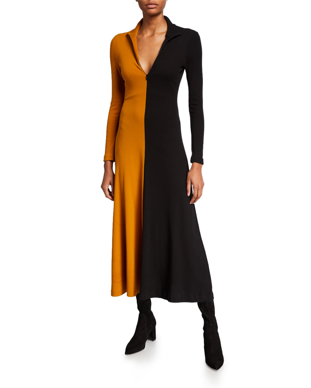 Rosetta Getty Dresses COTTON LONG-SLEEVE ZIP-FRONT TURTLENECK DRESS