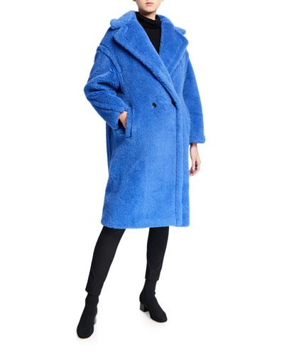 Alpaca-Silk Teddy Knit Coat,  Blue
