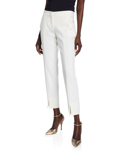 Sassari Straight-Leg Cropped Pants, White