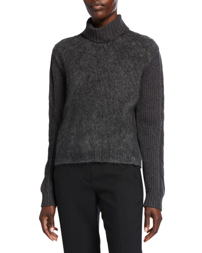 Formia Fuzzy-Front Turtleneck Sweater