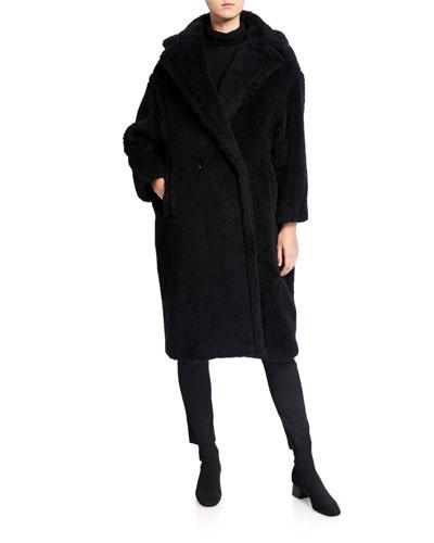 Alpaca-Silk Teddy Knit Coat, Black