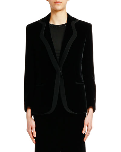 Velvet Jacket with Satin Trim