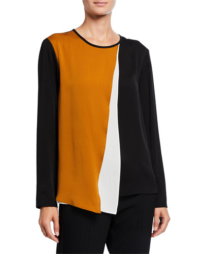 Tri-Tone Asymmetric Pleated Silk Shirt