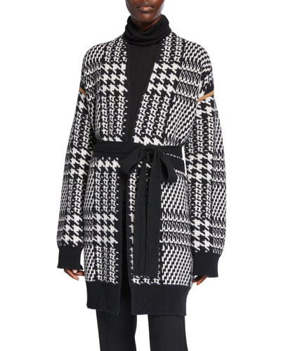 Malizia Houndstooth Wool-Cashmere Long Cardigan
