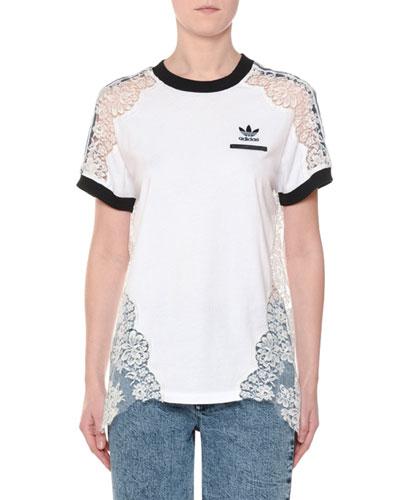 Crewneck Short-Sleeve Adidas T-Shirt w/ Lace Inset