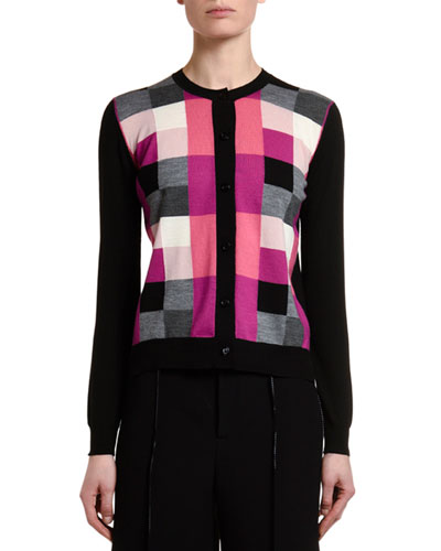Pixel Jacquard Wool Button-Front Cardigan