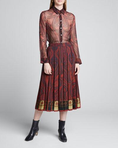 Paisley-Print Chiffon Menswear Shirt