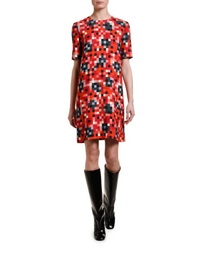 Pixel-Pattern Short-Sleeve Tunic Dress