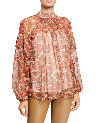 Printed Silk Chiffon Smocked Blouse