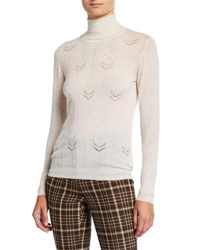 Lightweight Cashmere Floral Sweater