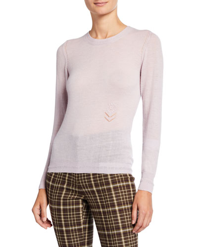 Lightweight Cashmere Floral-Embroidered Sweater