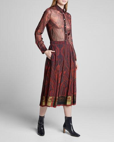 Paisley-Print Chiffon Midi Skirt