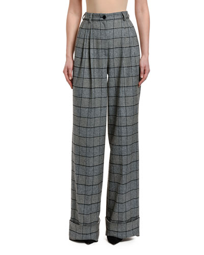 Checked High Rise Wide Leg Pants
