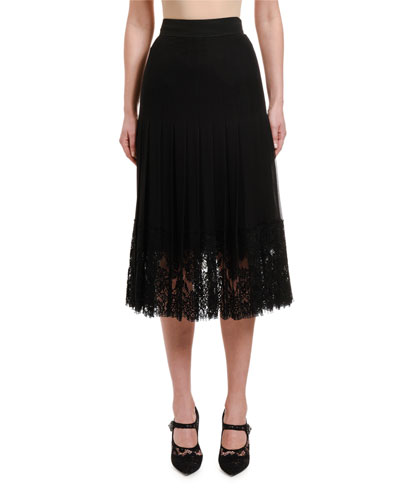 Pleated Georgette Skirt w/ Lace Hem